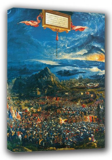 Altdorfer, Albrecht: The Battle of Issus, or The Victory of Alexander the Great, 1529. Historical/Military Fine Art Canvas. Sizes: A3/A2/A1 (0032)